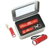 S04 Gift set FL05 Stripe Flashlight & KF102 Stripe Keychain